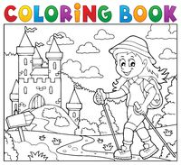 Coloring book woman hiker theme 2