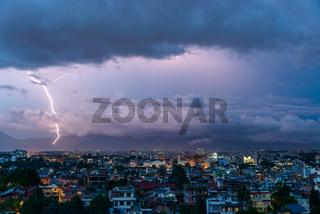 Lightning bolt over Patan and Kathmandu