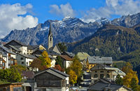 The village of Guarda in the Unterengadin, municipality of Scuol, Engadin, Graubunden,Switzerland