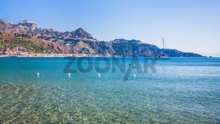 view of Taormina town and Giardini Naxos resort