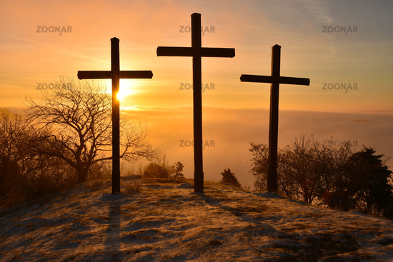 Crosses; Sunrise; Swabian Alb; Germany;