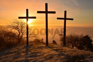 Kreuze auf dem Kornbuehl; Schwaebische Alb