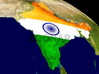India with flag on Earth