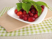 Ripe raw cornelian cherries