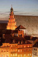 Old Town houses and St. John's Archcathedral at dusk in city of Warsaw