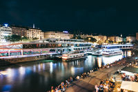 Popular Schwedenplatz in Vienna Austria at night