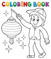 Coloring book boy with paper lantern