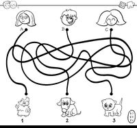 paths maze with kids and pets coloring page