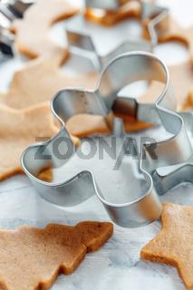 Metal cookie cutters for Christmas cookies.
