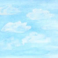 Watercolor sky and clouds