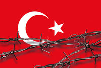 Flag of Turkey with barbed wire