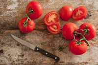 Preparing fresh tomatoes for a salad or cooking