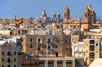 The view of the Malta main churches surrounded by residental houses, Malta.
