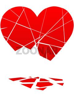 Broken Valentine Heart Falls to Pieces