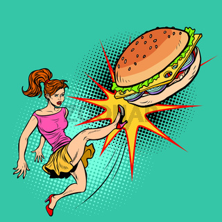 Woman kicks Burger, fastfood and healthy food