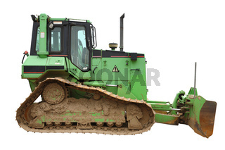 Green bulldozer.