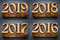 2016, 2017, 2018 and 2019 year set