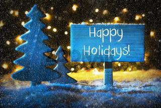 Blue Christmas Tree, Text Happy Holidays, Snowflakes