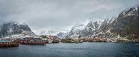 A village on Lofoten Islands, Norway. Panorama