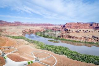 Canyon of Colorado River in Utah aerial view