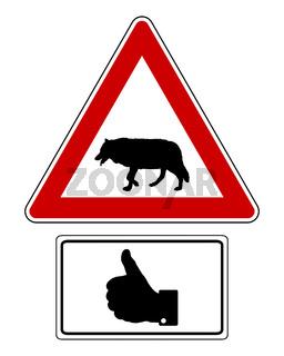 Warnschild mit Zusatzschild Daumen hoch - Attention sign with optional label thumbs up