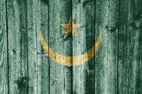 Fahne von Mauretanien auf verwittertem Holz - Flag of the Mauritania on weathered wood
