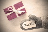 Pink Gift, Glove, Text Thank You, Instagram Filter