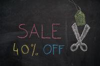 Sale 40% off on chalkboard