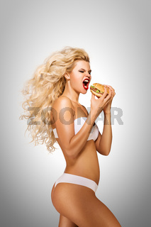 Eating burger.