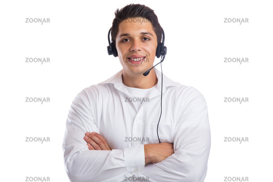 Mann Headset Telefon Call Center Agent Portrait Business Freisteller