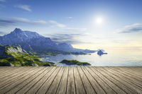 a wooden jetty with a beautiful scenery