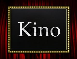 Kino - Schild mit Vorhang