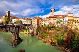 Cividale del Friuli devil's bridge and Natisone river canyon panoramic view