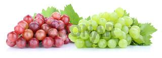 Trauben Weintrauben rot grün frische Früchte Obst Freisteller freigestellt isoliert