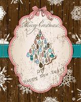 Vintage Christmas card pastel colors.
