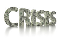 3D rendering of CRISIS word wrapped around with 100 USD banknotes over white background