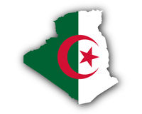 Karte und Fahne von Algerien - Map and flag of Algeria