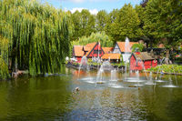 A beautiful pond with fountain in Tivoli gardens in Copenhagen.