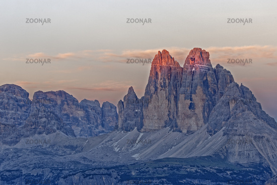 North face of the Three Peaks at sunset, Sextner Dolomiten, South Tyrol province, Trentino-Alto Adig