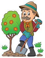 Gardener planting tree theme image 1