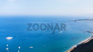 view of Ionian sea coastline from Taormina