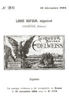 "Historical trademark for Swiss ""Edelweiss"" liqueurs from 1894"