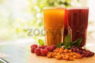 fruit drink with cranberries raspberries and sea buckthorn