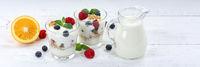 Beeren Joghurt Beere Glas Früchte Müsli Banner Frühstück