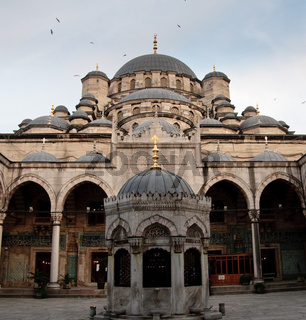 Interior view of the Mosque of the Valide by the Galata bridge in Istanbul