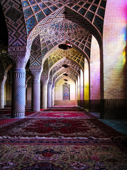 Interior of Nasir ol Molk Mosque, Shiraz, Iran