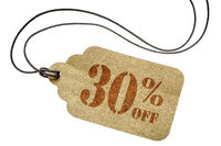 thirty percent off discount -  paper price tag