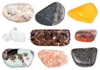 set of various polished stones isolated on white