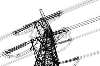 overhead power line isolated on white background