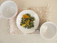Herbal tea mix and empty cups